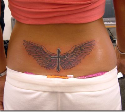 Why on earth would you get a cross tramp stamp? Oh and your thong is showing honey.. real holy...