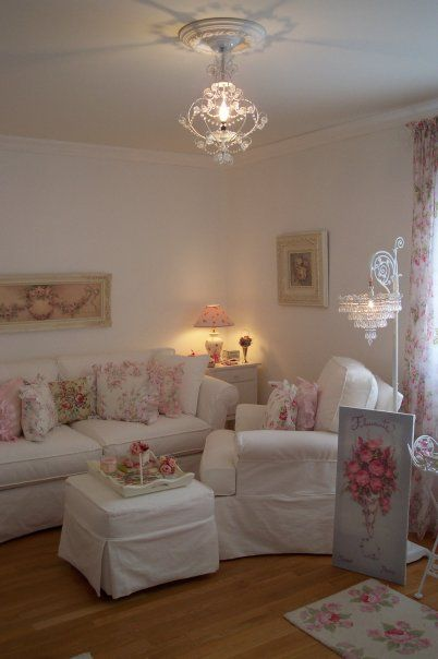 My shabby chic room Love so many different things here, look at that beautiful floor lamp@