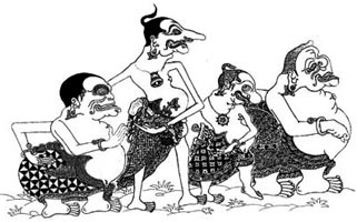 """Punakawan is a family of characters in Javanese Wayang, they are sometimes referred to as """"clown-servants"""" because they normally are associated with the story's hero, and provide humorous and philosophical interludes. Semar is the father of Gareng (oldest son), Petruk, and Bagong (youngest son)."""