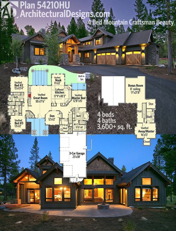 Architectural Designs 4 Bed Mountain Craftsman House Plan 54210HU gives you almost 3,700 square feet of living space and great views to the back.  Ready when you are. Where do YOU want to build? #homebuild #readywhenyouare