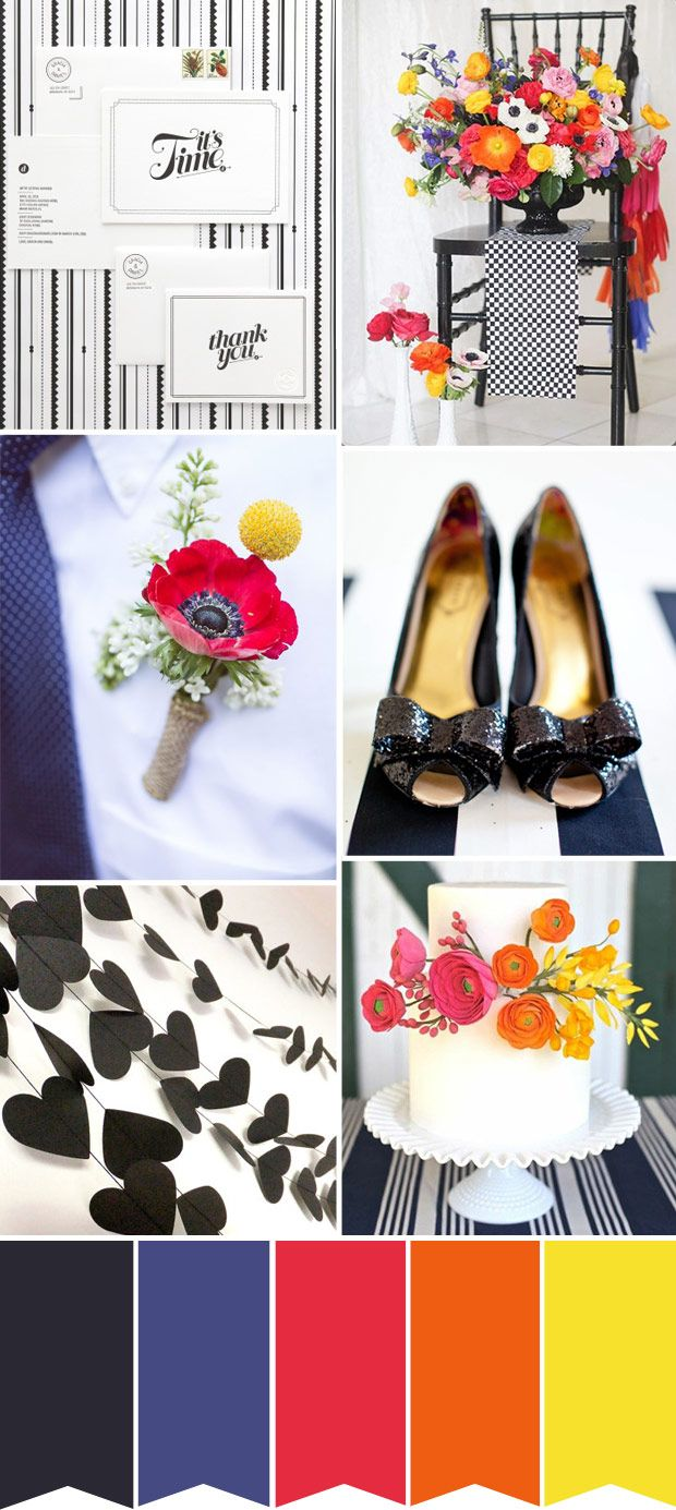 A Black & White Wedding colour palette with lots of primary colour pops of red, blue yellow -