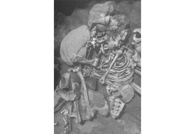 Cultura de El Argar. 2º Milenio AC. Detalle del esqueleto femenino de la tumba 21 del Cerro de la Encina mostrando una copa cerca de las rodillas y un brazalete de cobre alrededor de la muñeca izquierda  en la parte frontal del tórax y un pendiente en la zona del parietal derecho (Aranda et al. 2008: lám. XI).