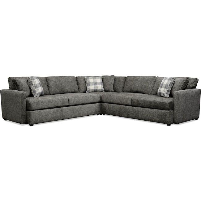 Garrett 3 Piece Sectional Gray Value City Furniture And Mattresses Value City Furniture City Furniture Furniture