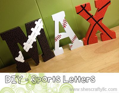 {DIY} Sports Themed Letters @ She's Crafty Blog - Great gift for sports fans, see how to make one or where to buy one here.  This would be great for the little ones room.