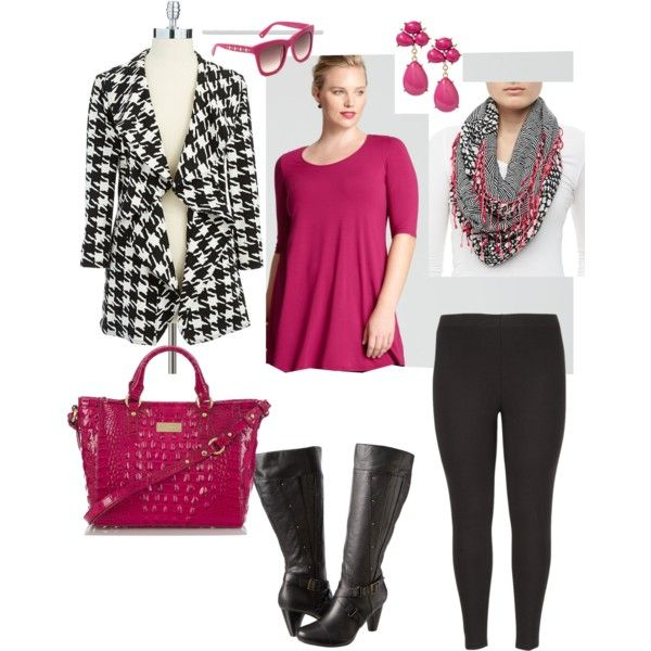"""""""Houndstooth Happiness- Plus Size Outfit"""" by boswell0617 on Polyvore"""
