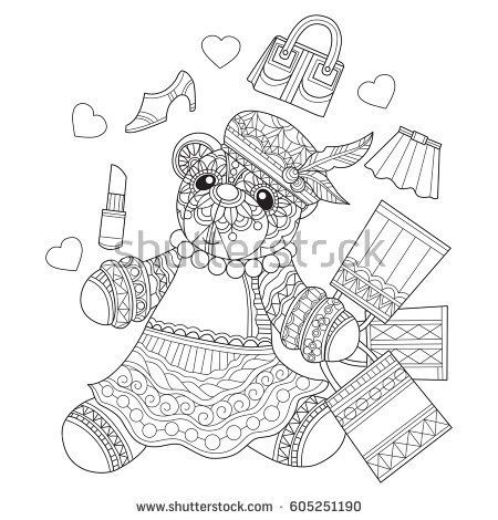 Shopping Teddy bear. Zentangle stylized cartoon isolated on white background. Hand drawn sketch illustration for adult coloring book, T-shirt emblem, logo, tattoo, zentangle design elements.