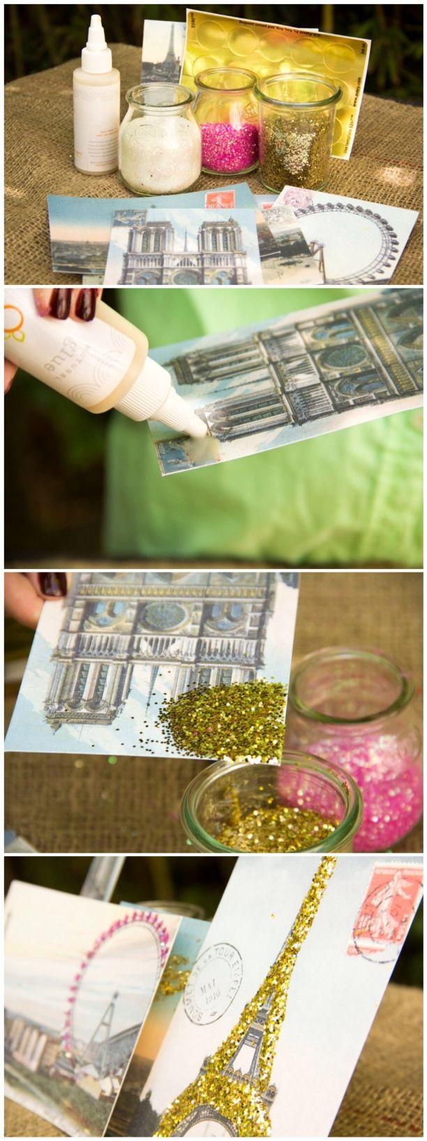 Vintage Postcard Art/ Moonfrye DIY/Glitter Crafts/ Kids Crafts/ Kids Art Projects
