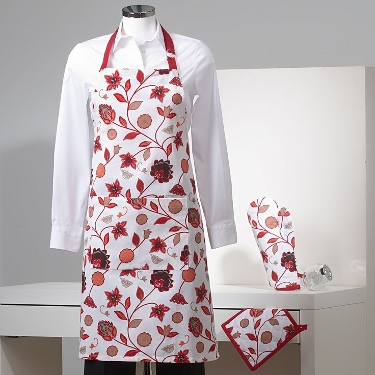 Delantal, paño para el horno y manopla. Estampado con flores y hojas www.sancarlos.es