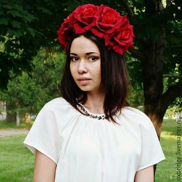 """Купить Ободок """"Роскошные красные розы"""" - ярко-красный, ободок для волос, ободок с цветами, розы"""