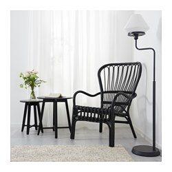 STORSELE Sessel mit hoher Rückenlehne, schwarz, Rattan - IKEA