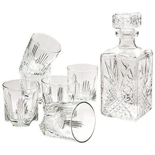 Bormioli 1616195 Selecta Service à Whisky Verre Transparent 26 x 10 x 24,5 cm 7 Pièces: Il comprend 1 carafe et 6 chopes à whisky en verre…