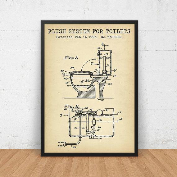 Bathroom Poster Flush System For Toilets Patent Art Printable Digital Blueprint