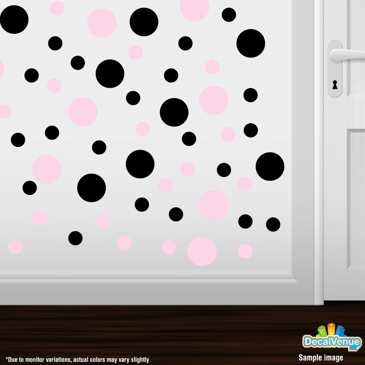 Baby Pink / Black Polka Dot Circles Wall Decals #decals #stickers #decalvenue