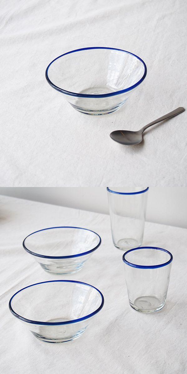 沖縄のガラス。琉球ガラス工房、奥原硝子製造所のボウル。ブルーライン