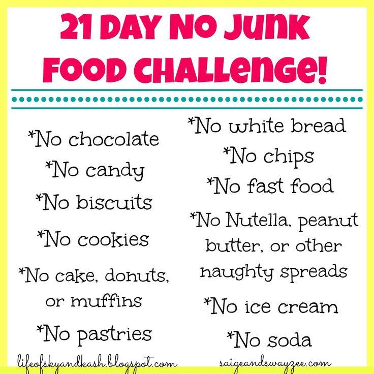 21 Day NO JUNK FOOD Challenge.  www.lifeofskyandkash.blogspot.com www.crazyraisingsaigeandswayzee.blogspot.com