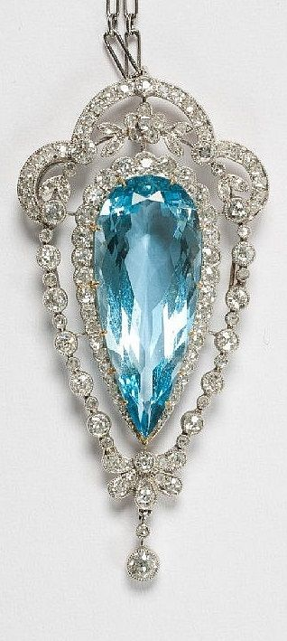 An Edwardian platinum, diamond and aquamarine pendant, circa 1905. Pendant 5.5 cm long. #Edwardian