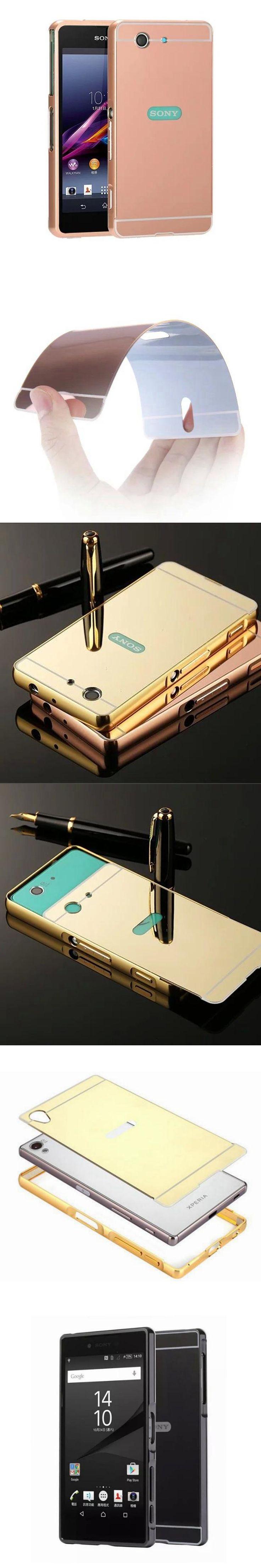 Z3 pact Cases Gold Shinny Mirror Back Cover For Fundas Sony Xperia Z5 Premium Z4 Z3