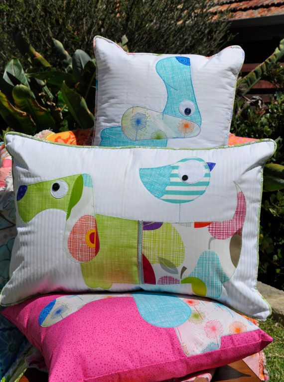 Slinky & the Bird PDF Applique Cushion by claireturpindesign, $8.00