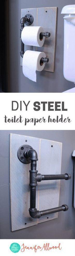 Idée Décoration Salle De Bain DIY Industrial Toilet Paper Holder |  Galvanized Steel Toilet Paper Holder