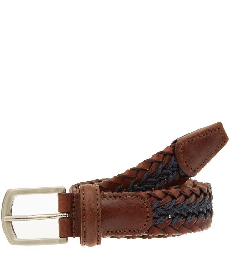 Anderson's Brown Leather and Rope Woven Belt | Men's Belts by Anderson's | Liberty.co.uk