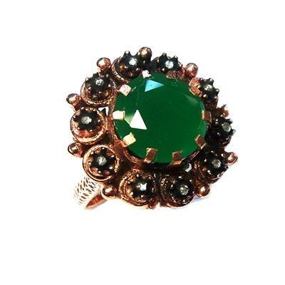 elmas ve yeşil kuvars yüzük----rose cut diamond and green quartz ring