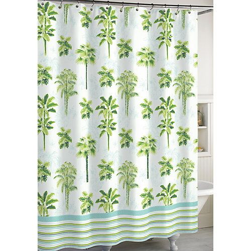 The CHF Destinations shower curtain features a tropical palm tree print with stripe print trim. Measures 72'' x 72''.