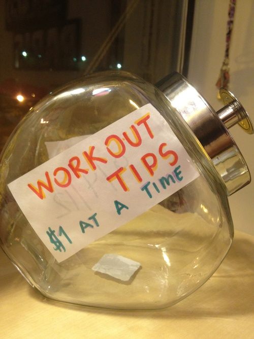 Workout Tip Jar : add $1 every time you work out and then redeem when you reach a milestone goal. Such a good incentive. After 20 pounds gone!(ab)