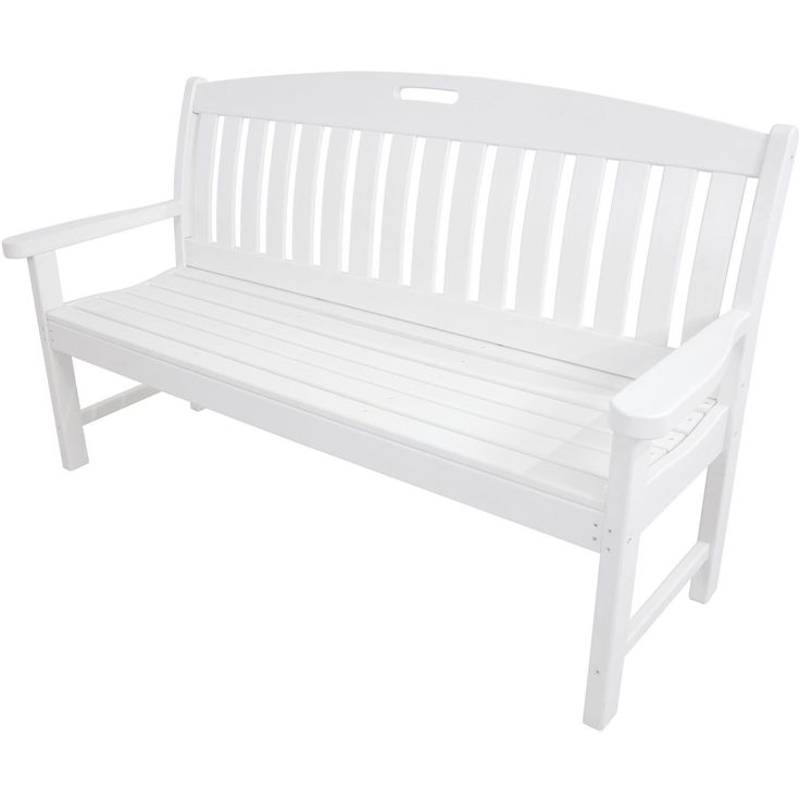 Hanover Outdoor Avalon White 60 Inch All Weather Porch Bench (White),