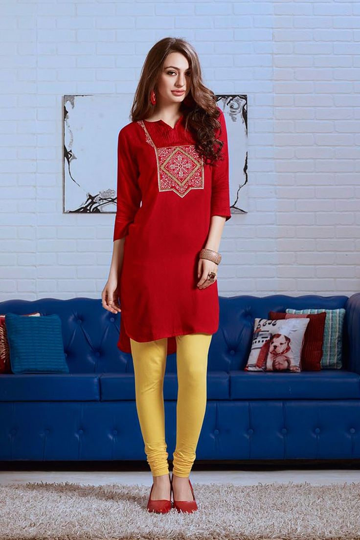 Simple Casual Wear Red Kurti