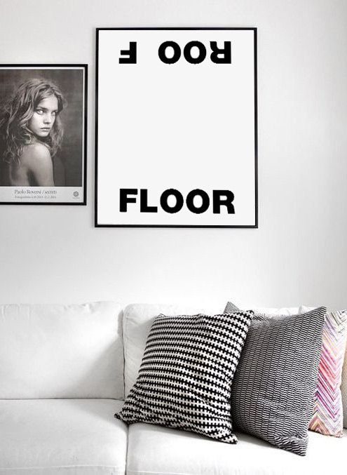 floor and roof typographic print scandinavian style scandinavian design typographic affiche. Black Bedroom Furniture Sets. Home Design Ideas