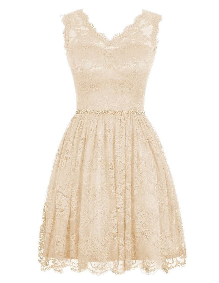 Ababalaya short v neck lace flower formal bridesmaid dress for Short champagne wedding dress