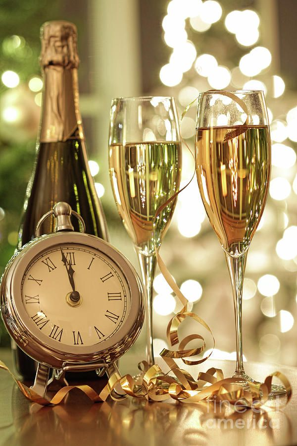 Champagne Glasses Ready To Bring In The New Year Photograph by Sandra Cunningham - Champagne Glasses Ready To Bring In The New Year Fine Art Prints and Posters for Sale