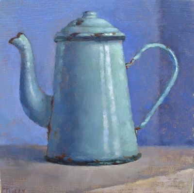 oil painting of old teapot or coffee pot. I love it