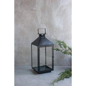 Lanterna media in ferro nero e vetro