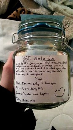 365 Note Jar | DIY Valentines Day Gifts for Him