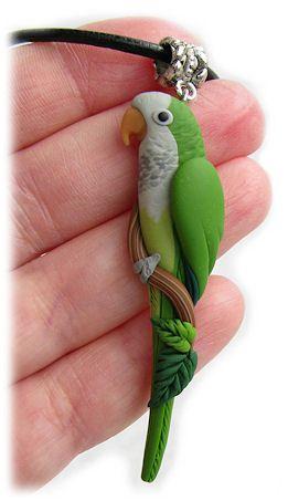 CUSTOM PARROT CHOKERS & PENDANTS Handsculpted Polymer Clay Bird Art @ ParrotJewelry.com
