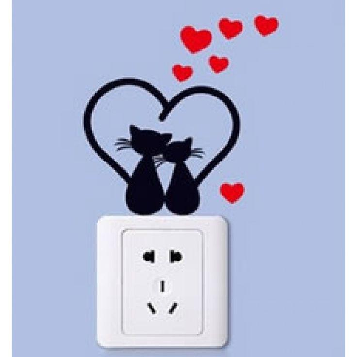 Szerelmes macskák villanykapcsoló falmatrica