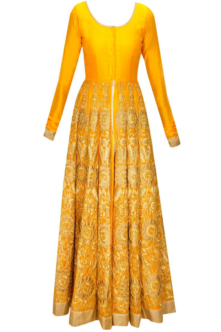 Yellow embroidered jacket with off-white printed pants by Vasavi Shah. Shop at: www.perniaspopups... #jacket #pants #vasavishah #designer #anarkali #shopnow #perniaspopupshop #happyshopping.