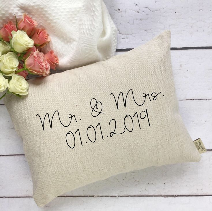 A personal favorite from my Etsy shop https://www.etsy.com/ca/listing/588280521/mr-and-mrs-pillow-cover-wedding-day
