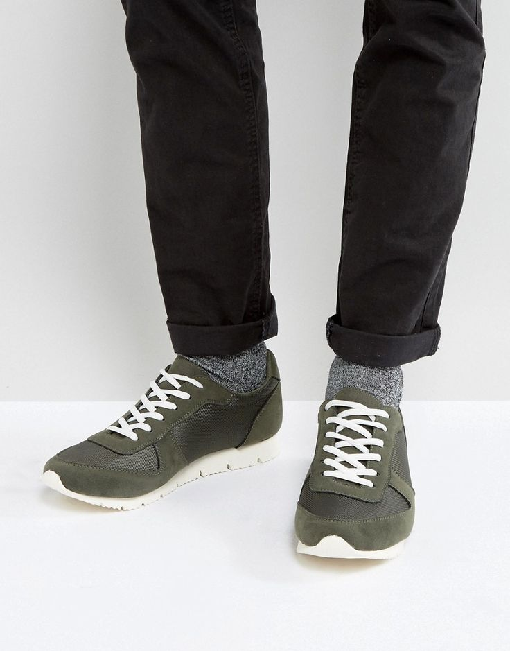 ASOS Retro Sneakers In Khaki Faux Suede And Nylon - Green