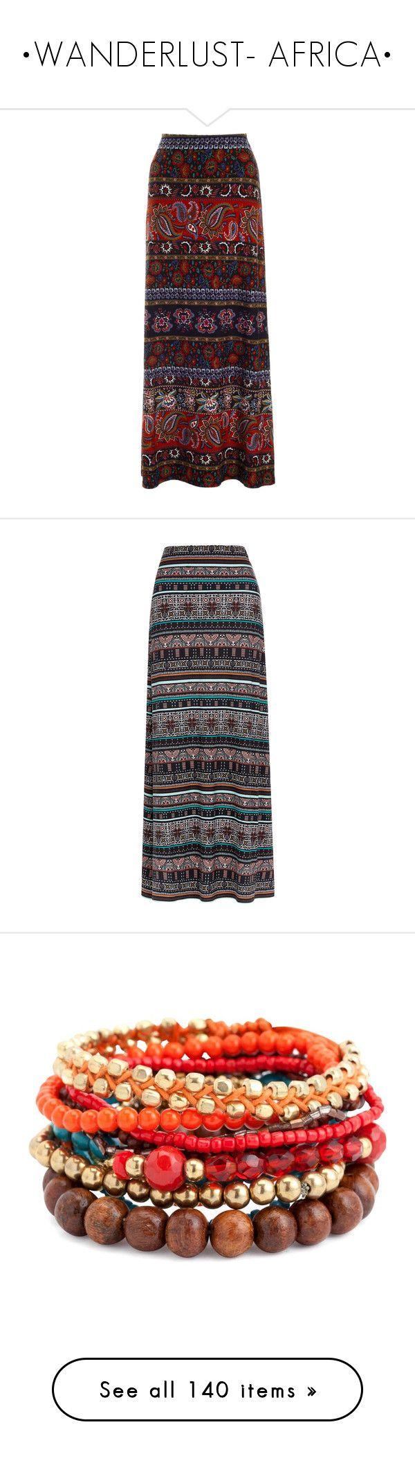 """•WANDERLUST- AFRICA•"" by fanficqueen13 ❤ liked on Polyvore featuring skirts, bottoms, saias, maxi skirt, multi, floral maxi skirt, long skirts, floor length skirt, flower print skirt and aztec print maxi skirt"