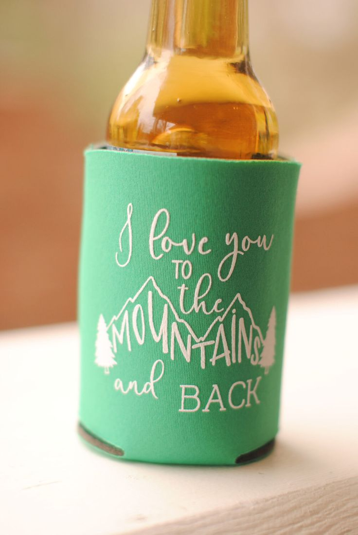 Mountain Wedding Favors - Personalized Rustic Mountain Wedding Can Coolers, Destination Favors for Guests, Stubby Holders, Wedding Coolies by yourethatgirldesigns on Etsy https://www.etsy.com/listing/497863940/mountain-wedding-favors-personalized