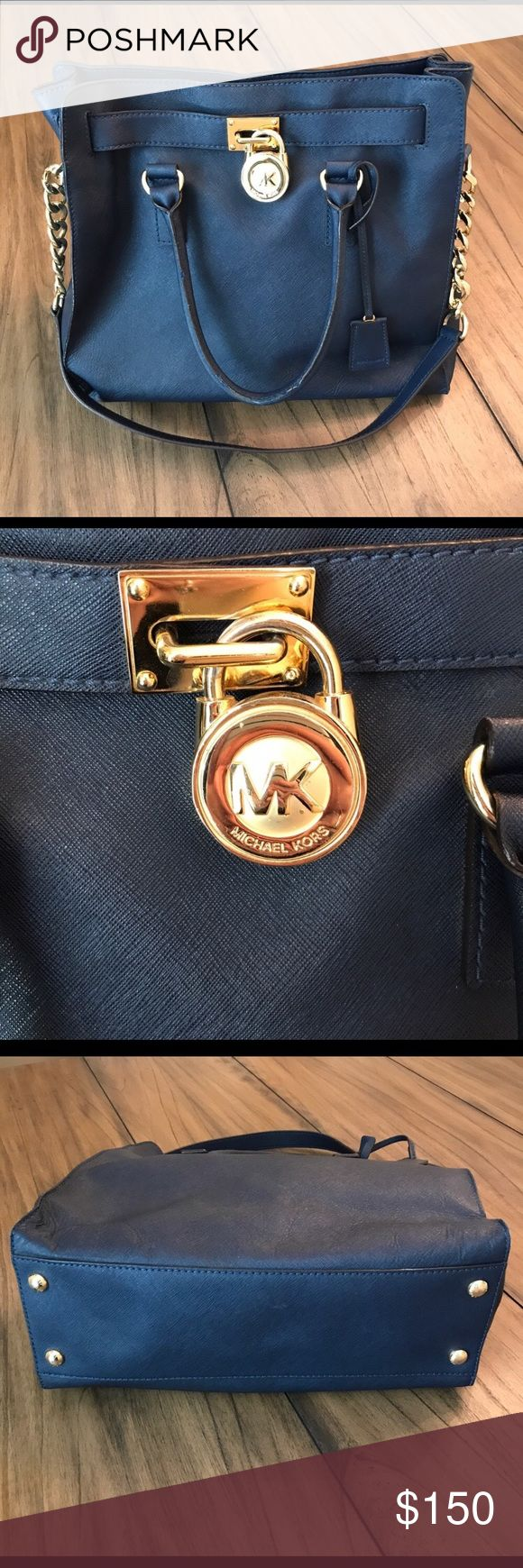 Michael Kors Leather Studio Hamilton Satchel Beautiful Navy Blue Michael Kors Studio Hamilton Satchel. Has a wonderful amount of room for a large amount of items. It's in mostly great conditions and looks beautiful. The last two pictures show the wear on the rims and handles. Michael Kors Bags