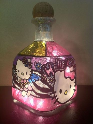 CHILDREN'S NIGHT LIGHT- HELLO KITTY - PATRON empty liquor bottle Art | eBay