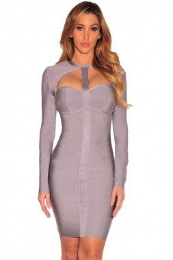 Metallic Grey Cut-Out Long Sleeve Bandage Dress