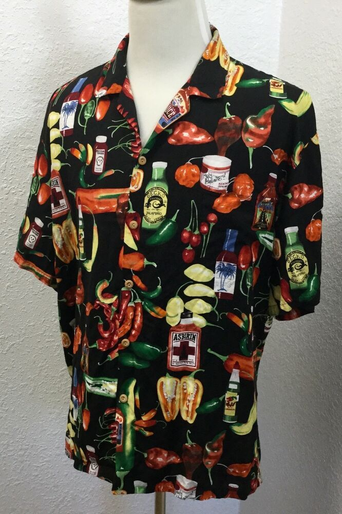 2713259c Vintage Paradise Found Hawaiian Shirt Mens 3XL Rayon Hot Sauce Pepper  Asbirin #ParadiseFound #Hawaiian