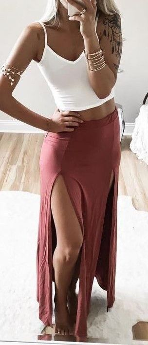 #summer #outfits / slit maxi skirt