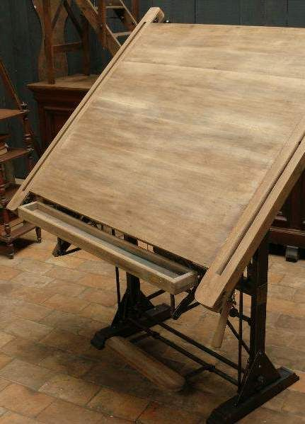 Bleached oak drafting table c. 1930 Too bad we don't draft by hand as much anymore --still sick though.
