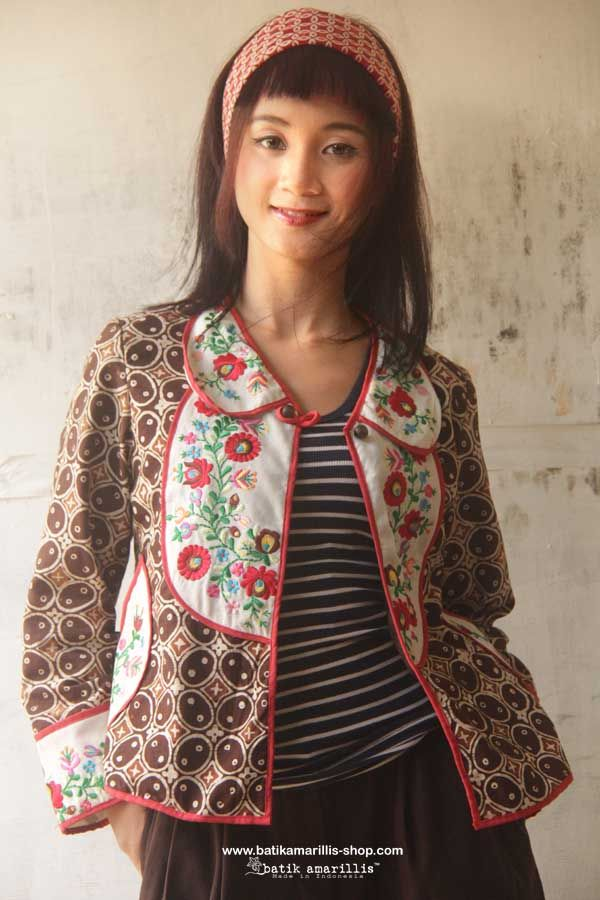Petit Bon Bon Jacket 2015 ♥ made in Batik Kawung Pekalongan of Indonesia & Mexican embroidery ...lovely & fun! is how to describe Batik Amarillis's Petit Bon Bon Jacket ,accented with yoke,cute croissant pockets,pretty bow and a little flared peplum at the back!