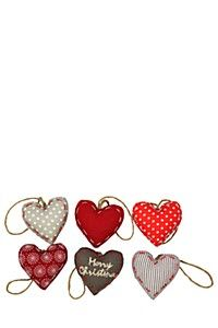 PACK OF 6 ASSORTED FABRIC HEART CHRISTMAS DECORATIONS